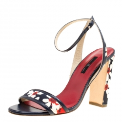 b015c9d944cb7 Carolina Herrera Blue Multicolor Floral Printed Fabric and Leather Ankle  Strap Sandals Size 39