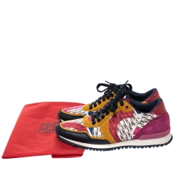 Carolina Herrera Multicolor Suede, Leather And Fabric Low Top Sneakers Size 38