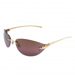 Cartier Gold/Brown Panthere Rimless Sunglasses