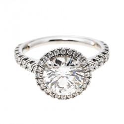 5fcfd9aabd2 Cartier 1895 Destinee 2.08ct Diamond Solitaire Platinum Halo Engagement Ring  Size 51