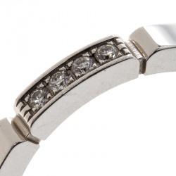 Cartier Maillon Panthère Diamond 18k White Gold band Ring Size 52