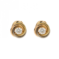 Cartier Trinity De Cartier Diamond 18k Three Tone Gold Stud Earrings