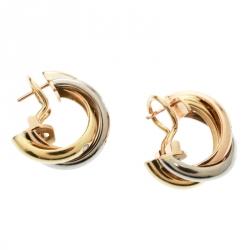 Cartier Trinity De Cartier Diamond 18k Three Tone Gold Hoop Earrings