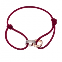 Cartier Love Charity Two Tone 18K Gold Red Cord Adjustable Bracelet