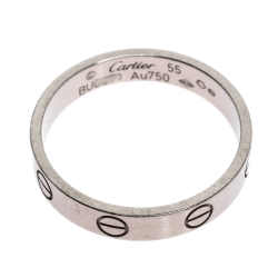 Cartier Love 18K White Gold Narrow Wedding Band Ring Size 55