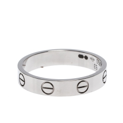 Cartier Love 18K White Gold Narrow Wedding Band Ring Size 53