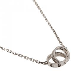 Cartier Love Diamonds and White Gold Hoops Pendant Necklace