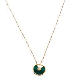 Cartier Amulette De Cartier Malachite Diamond 18K Rose Gold Necklace XS