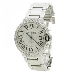 Cartier Silver Grey 18K White Gold & Diamonds Ballon Bleu De Cartier 3004 Women's Wristwatch 36 mm