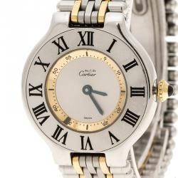 Cartier Silver Grey Stainless Steel Must 21 Women's Wristwatch 28 mm