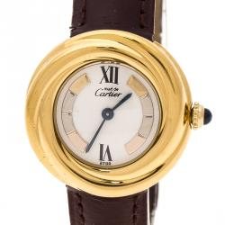 Cartier White Dial 18K Yellow Gold Plated Silver Must de Cartier 2735 Women's Wristwatch 27 mm