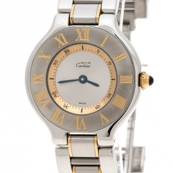 Cartier Silver Stainless Steel Must De Cartier 21 1340 Women's Wristwatch  28 cm