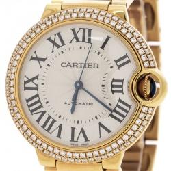 Cartier Ballon Bleu 18k Yellow Gold & Diamonds 3002 Women's Wristwatch 36MM