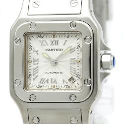 Cartier Silver Stainless Steel Santos Galbee Women's Wristwatch 24MM