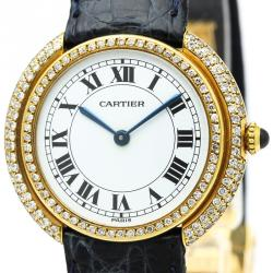 Cartier White 18K Yellow Gold Diamond Vendome Women's Wristwatch 33MM