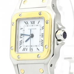 Cartier White 18K Yellow Gold and Stainless Steel Santos Galbee Women's Wristwatch 24MM