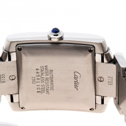 Cartier Silver White Stainless Steel Tank Francaise 2302 Women's Wristwatch 28 mm