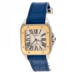 Cartier Silver Santos 100 18k Yellow Gold & Stainless Steel Women's Wristwatch 42MM