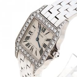 Cartier Diamond 18k White Gold Santos Demoiselle 2703 Women's Wristwatch 28MM