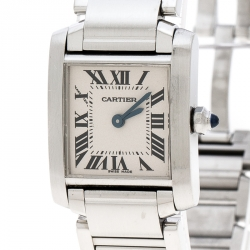 Cartier Grey Stainless Steel Tank Francaise 2384 Women's Wristwatch 20 mm