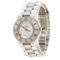 Cartier Silver Stainless Steel Must De Cartier 21 Women's Wristwatch 31 mm