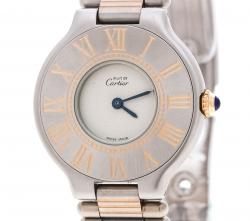 Cartier Grey Stainless Steel Must de Cartier Women's Wristwatch 28 mm