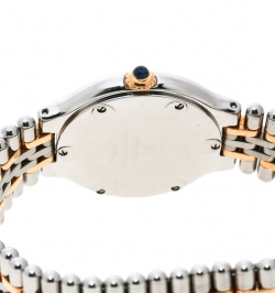 Cartier Silver Grey 18K Yellow Gold Plated and Stainless Steel Must de Cartier 21 1340 Women's Wristwatch 28 mm