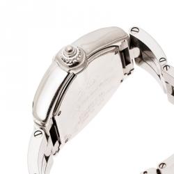 Cartier Peach Stainless Steel And Diamonds Roadster 2675 Women's Wristwatch 31 mm