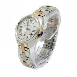 Cartier Silver Rose Gold & Steel Cle De Cartier Automatic Women's Watch 31MM