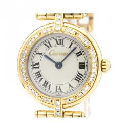 Cartier Silver Diamonds 18K Yellow Gold Panthere Women's Wristwatch 24 MM