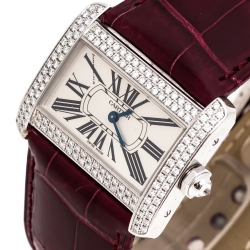 Cartier Silver 18K White Gold Diamond Leather Tank Divan 2613 Women's Wristwatch 31.50 mm