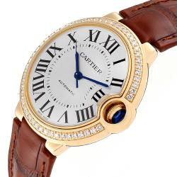Cartier Silver Diamonds 18K Yellow Gold Ballon Bleu WE900451 Women's Wristwatch 36 MM