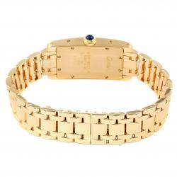 Cartier White 18K Yellow Gold Tank Americaine W26015K2 Women's Wristwatch 19 x 35 MM