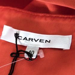 Carven Poppy Orange Crepe Gathered One Shoulder Dress M