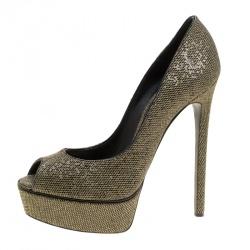 e889414a4b Casadei Black Glitter Lamé Fabric Daisy Peep Toe Platform Pumps Size 39