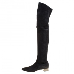 a9ae759e50e Casadei Black Suede Crystal Embellished Heel Over The Knee Boots Size 38.5