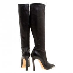 Casadei Black Leather Pointed Toe Knee Length Boots Size 41
