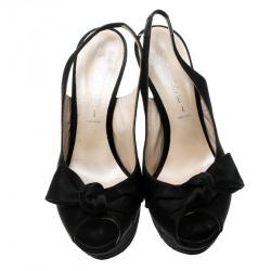 Casadei Black Satin Peep Toe Slingback Sandals Size 37