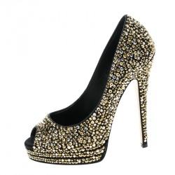 8aa5a075b80 Casadei Black Satin Swarovski Crystal Embellished Peep Toe Pumps Size 36.5