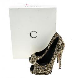 Casadei Black Satin Swarovski Crystal Embellished Peep Toe Pumps Size 36.5
