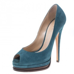 fefba7789385 Casadei Blue Suede Peep Toe Platform Pumps Size 35