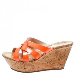 6a38f51ede8 Casadei Orange Patent Leather Cross Strap Cork Wedge Platform Sandals Size  41