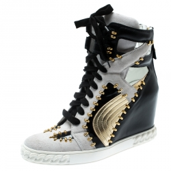 611bbd2230a Casadei Tricolor Suede And Leather Studded High Top Wedge Sneakers Size 40