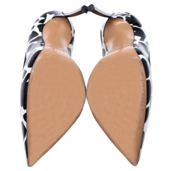 Casadei Black/White Patent Leather Giraffe Blade Pumps Size 38