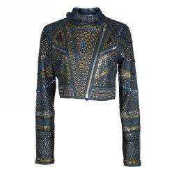 Malandrino Navy Blue Lamb Leather Studded Cropped Jacket M