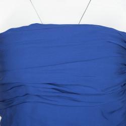 Catherine Malandrino Blue Silk Ruched Strapless Dress S