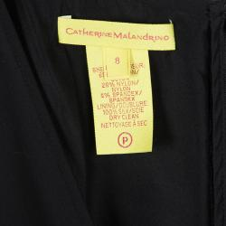 Catherine Malandrino Black Contrast Pintuck Detail Sleeveless Dress M