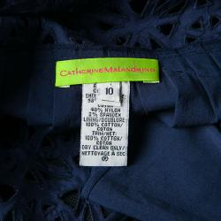 Catherine Malandrino Navy Blue Eyelet Embroidered Noodle Strap Camisole L