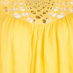 Catherine Malandrino Yellow Cutout Trim Detail Crinkled Chiffon Top M