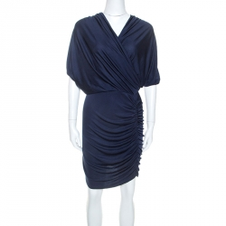 Catherine Malandrino Navy Blue Silk Jersey Twisted Draped Dress S